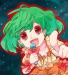 bad_id bow face fang green_hair macross macross_frontier makino_(sinobusan) microphone open_mouth pointing ranka_lee red_eyes smile