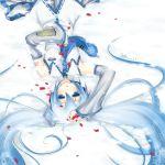 blue_eyes blue_hair blush detached_sleeves hatsune_miku highres long_hair lying necktie petals signature tears twintails upside-down very_long_hair vocaloid xinya yuki_miku