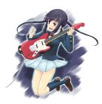 bad_id black_hair brown_eyes guitar highres instrument jumping k-on! long_hair nakano_azusa school_uniform solo takahashi_mugi twintails