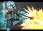 aqua_eyes aqua_hair boots bullpup casing_ejection elbow_gloves fingerless_gloves firing gloves gun hase_yu hatsune_miku headset knee_pads kneeling long_hair m82 m82a2 muzzle_flash open_mouth operator rifle scope shell_casing sniper_rifle twintails vertical_foregrip very_long_hair vocaloid weapon