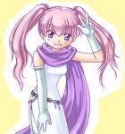 belt dress elbow_gloves fire_emblem fire_emblem_blazing_sword gloves open_mouth pink_hair serra_(fire_emblem) smile twintails v violet_eyes