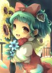 bow flower green_hair hair_bow hair_ornament happy holding holding_flower jumper kazami_yuuka petals plaid_dress red_rose rose sanntouhei short_hair smile solo sunflower touhou unmoving_pattern yellow_eyes young