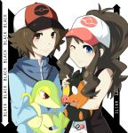 1boy 1girl blue_eyes brown_eyes brown_hair cheshire-kun hat hug long_hair pokemon pokemon_(creature) pokemon_(game) pokemon_black_and_white pokemon_bw ponytail smile snivy tepig touko_(pokemon) touya_(pokemon) wavy_hair wink
