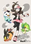 1girl blue_eyes brown_hair hat highres holding holding_poke_ball leggings maka62 nintendo oshawott poke_ball pokemon pokemon_(creature) pokemon_(game) pokemon_black_and_white pokemon_bw snivy tepig touko_(pokemon)