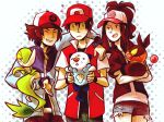 ? baseball_cap blue-fox brown_hair hat multiple_boys oshawott pokemon pokemon_(creature) pokemon_(game) pokemon_black_and_white pokemon_bw ponytail red_(pokemon) snivy tepig touko_(pokemon) touya_(pokemon)