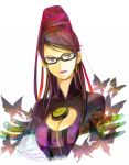 bayonetta bayonetta_(character) black_hair bodysuit breasts butterfly cleavage cleavage_cutout cocoa77 crossed_arms earrings elbow_gloves glasses gloves grey_eyes hair_bun hair_ribbon jewelry lipstick mole purple_lipstick ribbon simple_background solo