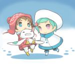 carrying chibi child coat eureka eureka_7 eureka_seven eureka_seven_(series) face footprints happy lastswallow mittens nirvash renton renton_thurston smile snow