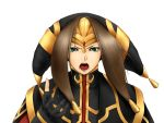 brown_hair female final_fantasy final_fantasy_xi green_eyes hat long_hair lucifa open_mouth solo tiara yve'noile