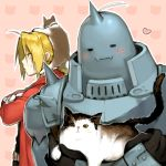 alphonse_elric armor blonde_hair blush cat crossed_arms edward_elric fullmetal_alchemist heart kitten male multiple_boys noako