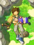1boy croagunk friends geodude hug on_ground onix pokemon pokemon_(anime) pokemon_(creature) sleeping sudowoodo takeshi_(pokemon)