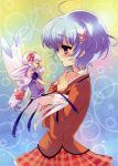 absurdres blue_eyes character_request closed_eyes dress fairy glasses hair_ornament highres ito_noizi itou_noiji mercuria pointy_ears purple_eyes purple_hair tears tiara tiara_(mercuria) tsurugi_ai wings