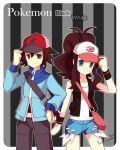 bag baseball_cap hat messenger_bag pokemon pokemon_(game) pokemon_black_and_white pokemon_bw ponytail purse short_shorts shorts shoulder_bag tank_top touko_(pokemon) touya_(pokemon) vest