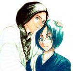 black_hair bleach blue_eyes blue_hair braid haori kimono unohana_retsu yamada_hanatarou