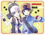 1boy 1girl ahoge baseball_cap blue_eyes brown_eyes hand_on_hip hat hirako holding holding_poke_ball poke_ball pokemon pokemon_(game) pokemon_black_and_white pokemon_bw ponytail smile tank_top touko_(pokemon) touya_(pokemon) vest