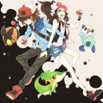 1boy 1girl baseball_cap blue_eyes boots brown_eyes brown_hair denim denim_shorts hat highres holding holding_poke_ball oshawott pants poke_ball pokemon pokemon_(creature) pokemon_(game) pokemon_black_and_white pokemon_bw ponytail rei_(x829) shoes shorts sneakers snivy tank_top tepig touko_(pokemon) touya_(pokemon) vest