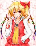 1girl alternate_costume blush bow candy collarbone flandre_scarlet hair_bow hand_in_pocket highres hoodie karamoneeze lollipop long_sleeves looking_at_viewer musical_note pink_eyes shirt side_ponytail smile solo tongue tongue_out touhou wings