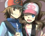 blue_eyes brown_eyes brown_hair curly_hair hat pokemon pokemon_(game) pokemon_black_and_white pokemon_bw reka smile touko_(pokemon) touya_(pokemon) wink