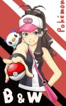 1girl ahoge bag baseball_cap black_hair blue_eyes brown_hair hat holding holding_poke_ball nail_polish oshawott poke_ball pokemon pokemon_(creature) pokemon_(game) pokemon_black_and_white pokemon_bw ponytail rokuji-saty smile tank_top touko_(pokemon) vest wristband
