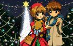 bear card_captor_sakura christmas kinomoto_sakura li_shaoran loli scarf
