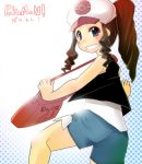 baseball_cap blue_eyes brown_hair dugtrio female handbag long_hair pokemon ponytail shorts smile touko_(pokemon)