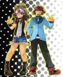 baseball_cap blue_eyes boots brown_hair hat pokemon pokemon_black_and_white shorts touko_(pokemon) touya_(pokemon) v wink