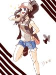 1girl antenna_hair armpits bare_shoulders baseball_cap black_hair blue_eyes boots brown_hair denim denim_shorts h2_(tegaki) hand_on_waist hat heart high_ponytail long_hair messenger_bag open_mouth pokemon pokemon_(game) pokemon_black_and_white pokemon_bw ponytail purse short_shorts shorts smile socks solo sparkle tank_top tegaki touko_(pokemon) vest wavy_hair wristband