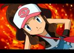 baseball_cap blue_eyes brown_hair face fire flame frown gloves handbag hands_on_hips hat leaning_forward nintendo pokemon pokemon_(game) pokemon_bw ponytail touko_(pokemon) trainer