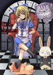 alice_(wonderland) blonde_hair cat checkered checkered_floor cheshire_cat footstool green_eyes pig rock_heart white_rabbit