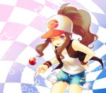 baseball_cap blue_eyes blush brown_hair checkered cutoffs hat poke_ball pokemon pokemon_(game) pokemon_black_and_white pokemon_bw ponytail solo star tongue touko_(pokemon) tubomizaki wink