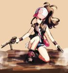 blue_eyes brown_hair commentary dual_wielding gun h&k_mp5 handgun hat heckler_&_koch lowres pokemon pokemon_(game) pokemon_bw ponytail raemz smile solo submachine_gun touko_(pokemon) weapon weee weee_(raemz) wristband