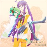 1girl ahoge carrying cosplay costume_switch couple green_hair gumi gumi_(cosplay) headset holding kamui_gakupo kamui_gakupo_(cosplay) meka princess_carry purple_hair smile vocaloid
