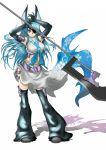 animal_ears blue_eyes blue_hair breasts elbow_gloves eyepatch gloves hands highres long_hair midriff original realmbw weapon