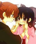 1girl :p an_(pixiv1170947) anzu_(o6v6o) bad_id black_eyes black_hair blush bow cheek_pull child chizuru_(rurouni_kenshin) couple female himura_kenji himura_kenshin japanese_clothes kamiya_kaoru kimono long_hair male orange_eyes ponytail redhead ribbon rurouni_kenshin samurai tears teasing tongue tongue_out