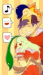 >_< 1boy 1girl ^_^ alternate_costume animal_on_head backwards_hat bad_id baseball_cap black_hair blush bow brown_hair cabbie_hat chikorita chin_rest closed_eyes cyndaquil gloom_(expression) gold_(pokemon) gold_(pokemon)_(remake) grin hat head_rest heart kotone_(pokemon) leaning low_twintails musical_note nintendo object_on_head open_mouth person_on_head pokemon pokemon_(creature) pokemon_(game) pokemon_gsc pokemon_heartgold_and_soulsilver seichirou short_hair smile speech_bubble spoken_face spoken_musical_note stacking sweatdrop twintails xd