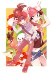 baseball_cap blue_eyes brown_eyes brown_hair hat highres kurodeko oshawott poke_ball pokemon pokemon_(game) pokemon_black_and_white pokemon_bw ponytail snivy tepig touko_(pokemon) touya_(pokemon) watch wristwatch