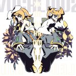 belt blonde_hair blue_eyes flower hair_bow hair_clip headphones kagamine_len kagamine_rin leg_warmers nail_polish neckerchief necktie negi_(ulogbe) ponytail sailor_collar shorts symmetrical vocaloid