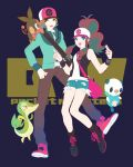 antenna_hair bad_id bag baseball_cap blue_eyes boots brown_eyes brown_hair curly_hair cutoffs denim denim_shorts hat high_ponytail hot_pants jacket legs long_hair male messenger_bag okomeuma open_mouth oshawott pants pointing pokemon pokemon_(game) pokemon_black_and_white pokemon_bw ponytail purse shoes short_hair short_shorts shorts shoulder_bag smile sneakers snivy socks tank_top tepig touko_(pokemon) touya_(pokemon) vest wristband zipper