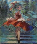 absurdres acrylic_paint_(medium) adapted_costume ama-tou back bare_back bare_shoulders black_hair blue_eyes bow corset detached_sleeves gohei hair_bow hakurei_reimu highres long_hair petticoat ponytail solo stairs touhou traditional_media wide_sleeves