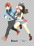 baseball_cap blue_eyes boots brown_eyes brown_hair denim denim_shorts hat highres holding holding_poke_ball jacket messenger_bag pants poke_ball pokemon pokemon_(game) pokemon_black_and_white pokemon_bw polka_dot ponytail pumpkinpan purse running shoes short_hair shorts shoulder_bag smile sneakers tank_top touko_(pokemon) touya_(pokemon) vest wavy_hair