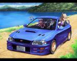 bag blonde_hair blue_hair bow breasts cameo car cirno daiyousei detached_sleeves eyes frog green_eyes green_hair hair_bow hair_ornament hakurei_reimu hat kawashiro_nitori keroro keroro_gunsou kochiya_sanae lake long_hair moriya_suwako motor_vehicle purple_hair red_eyes short_hair sky subaru_(brand) subaru_impreza subaru_noji touhou vehicle wings yasaka_kanako yellow_eyes