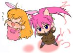 blonde_hair blue_eyes cat_ears chibi highres mahou_shoujo_lyrical_nanoha mahou_shoujo_lyrical_nanoha_a's mahou_shoujo_lyrical_nanoha_a's mahou_shoujo_lyrical_nanoha_strikers pantyhose pink_hair ponytail shinanoya_(satanicad) signum vivio