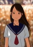 bicci brown_eyes brown_hair long_hair school_uniform serafuku smile solo teenage yotsubato!