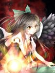 bow cape grin hair_bow highres long_hair reiuji_utsuho smile solo touhou wings yamineko yellow_eyes