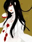 black_hair blood blood_on_face cup formal genderswap girlycard heart hellsing hellsing:_the_dawn long_hair necktie pant_suit red_eyes sabir solo suit white_suit wine_glass