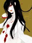 black_hair blood blood_on_face cup formal genderswap girlycard heart hellsing hellsing:_the_dawn long_hair necktie pant_suit red_eyes sabir solo suit white_suit wine_glass