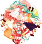 animal_hat aqua_hair bandaid bonnet bunny_ears cake candy chocolate closed_eyes doughnut dual_persona food hat hatsune_miku jelly_bean long_hair lots_of_laugh_(vocaloid) orange_legwear pantyhose pastry rabbit_ears skirt striped striped_pantyhose twintails vertical-striped_legwear vertical_stripes very_long_hair vocaloid yubari