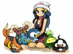 blue_eyes blue_hair budew buizel buneary hat hikari_(pokemon) morina morina_nao piplup pokemon scarf shinx smile starly