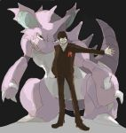 2boys formal male nidoking pokemon sakaki_(pokemon) suit team_rocket traditional_media watercolor_(medium)