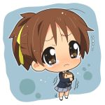 brown_hair chibi doll hahifuhe hirasawa_ui hirasawa_yui k-on! ponytail school_uniform short_hair tears trembling