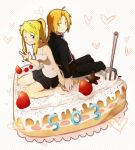 1girl ahoge bad_id barefoot blonde_hair blue_eyes blush cake couple edward_elric food fork fruit fullmetal_alchemist gloves icing looking_back orange_eyes orange_hair ponytail riru sitting skirt smile strawberry tank_top two-finger_salute wariza wink winry_rockbell